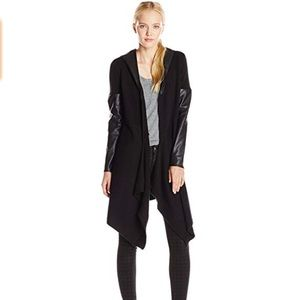[BLANKNYC] black faux leather hoodie open jacket L